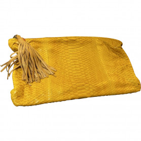 Pochette Python jaune Claris Virot